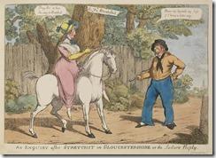 Englische Karikatur einer rittlings satt im Damensattel Reitenden (ca. 1800)